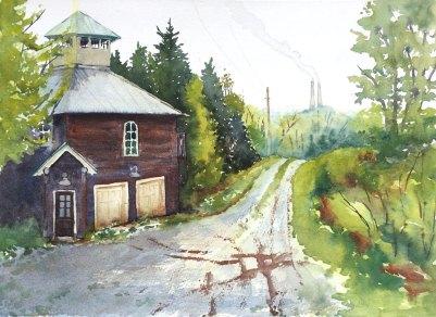 "Gueffen Around, 11"" x 15"" watercolor"