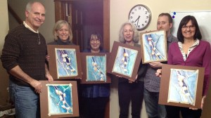 February 21st Wine & Watercolors session. (L to R) Joe Waters, Nancy Waters, Lorraine Elmore, Leanna Barclay, Sean Waters, Lynn Pickerel.