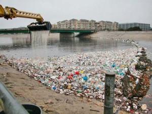 trash in Los Angeles River