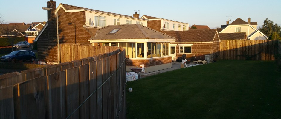 finished sunroom with external works nearing completion