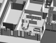 axonometric view; showing design of proposed extension
