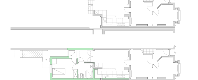 ground floor plan drawings: before and after