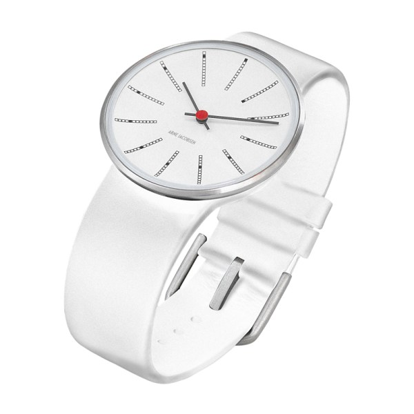 Arne Jacobsen - Bankers, 40 mm, witte wijzerplaat, witte band