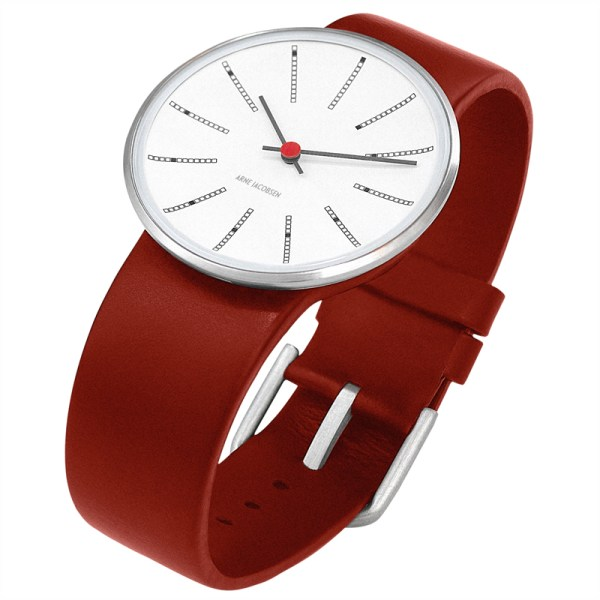 Arne Jacobsen - Bankers, 34 mm, witte wijzerplaat, rode band