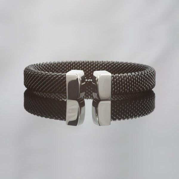 Milanese klemarmband van zwart edelstaal , 11 mm breed.