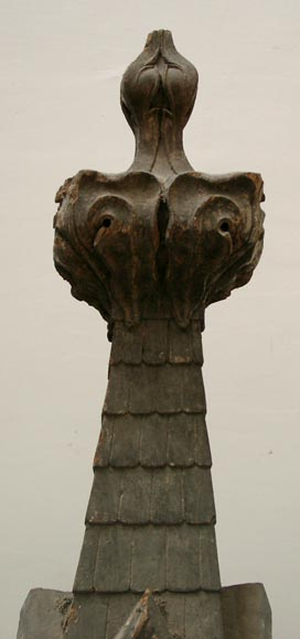 Two Wooden Roof Finials Decorative Elements