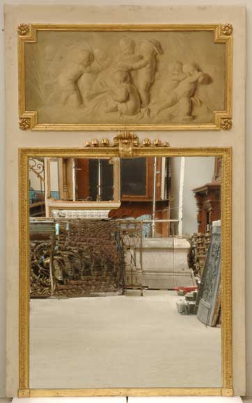 19th Century Trumeau Mirror With 18th Century Putti