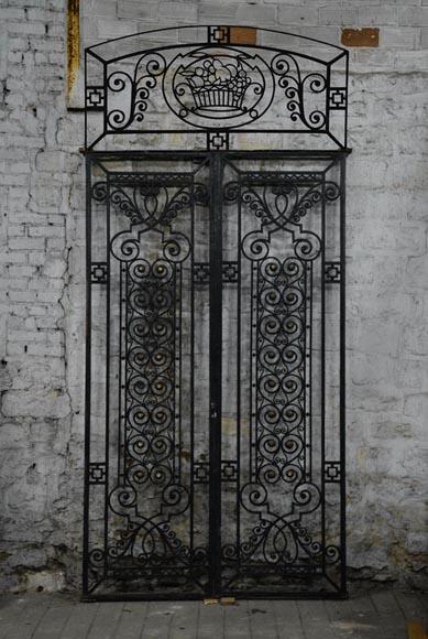 ancienne porte art deco en fer forge au