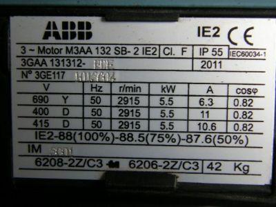 """Motore elettrico ABB standard """"IE2"""", con rendimento 88% (al 100% della potenza)."""