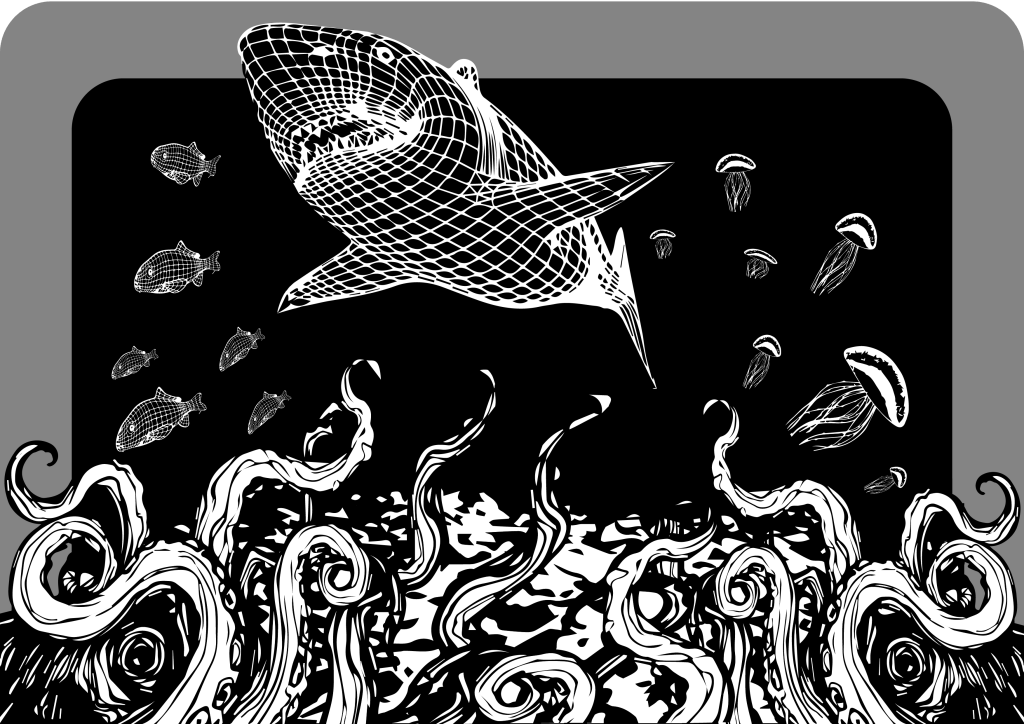 sea 3d shark black white b&w ocean deep vector art adobe graphic