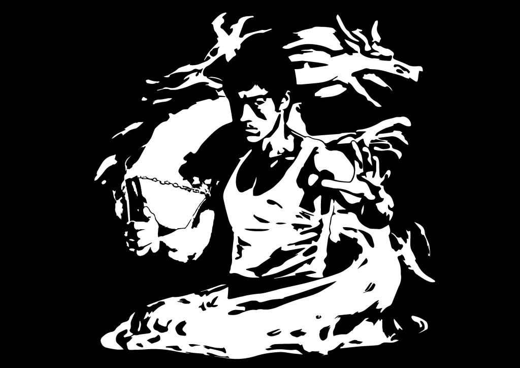 Bruce Lee dragon drago brucelee cina fury yellow karate kung fu kungfu vector art adobe graphic