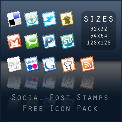 Social Post Stamps: Free icon set