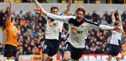 Marcos celebrates scoring his first Premier League goal   Photograph courtesy of BWFC