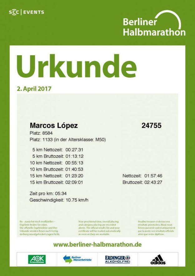 Die Urkunde des 37. Berliner Halbmarathon
