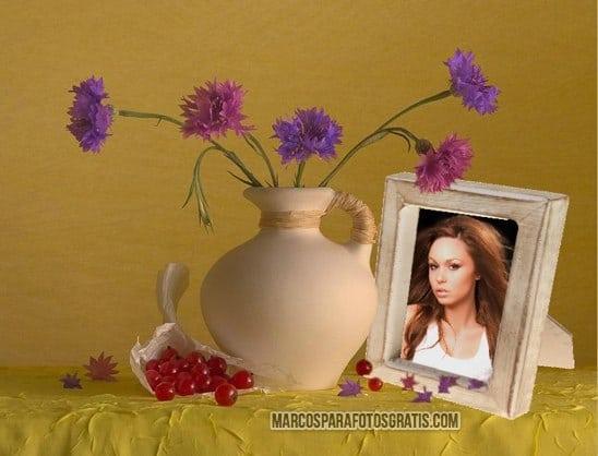 marco de jarron con flores
