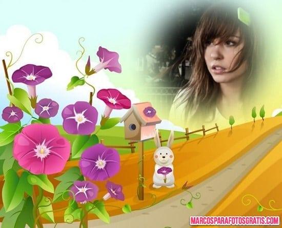 marco de flores violetas