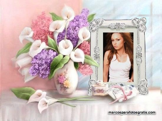marcos de fotos con portaretrato y florero