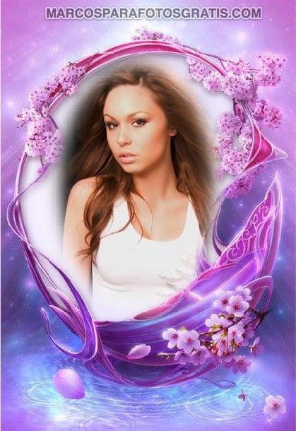 marcos para fotos de color violeta con flores