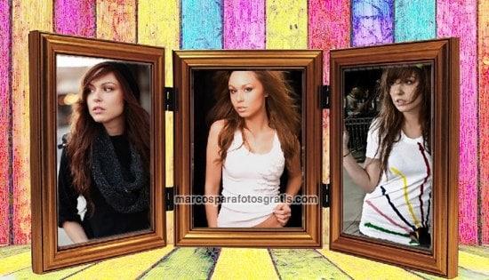 marco colorido para 3 fotos