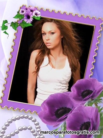 marcos de fotos de flores violetas y perlas