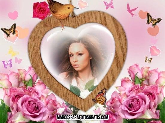 marcos para fotos con flores y corazon
