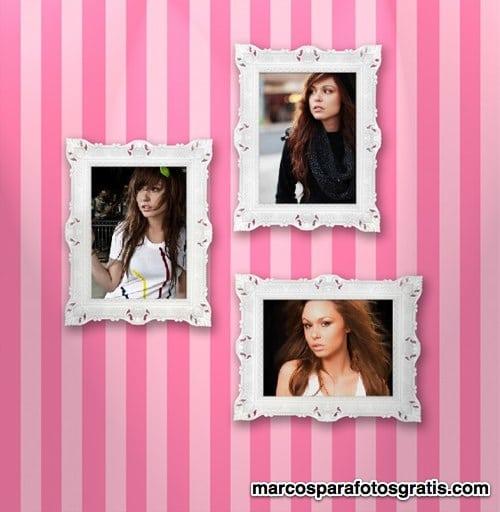 marco de color rosa para 3 fotos