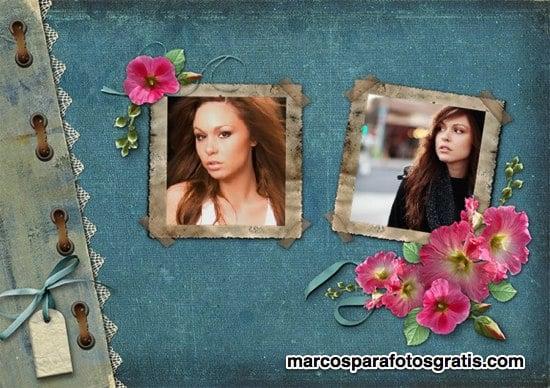 Marcos de cuadro y flores para colocar dos fotos