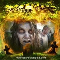 Marco de Halloween con calaveras y tumbas