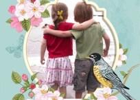 Marco con pájaros y flores