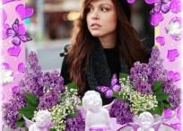 Introduce tu foto en un marco violeta con corazones, mariposas y angelitos