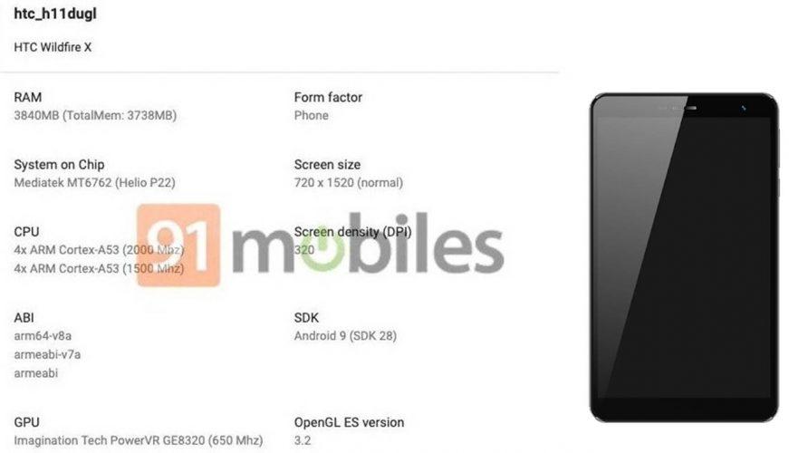 HTC Wildfire X características especificaciones