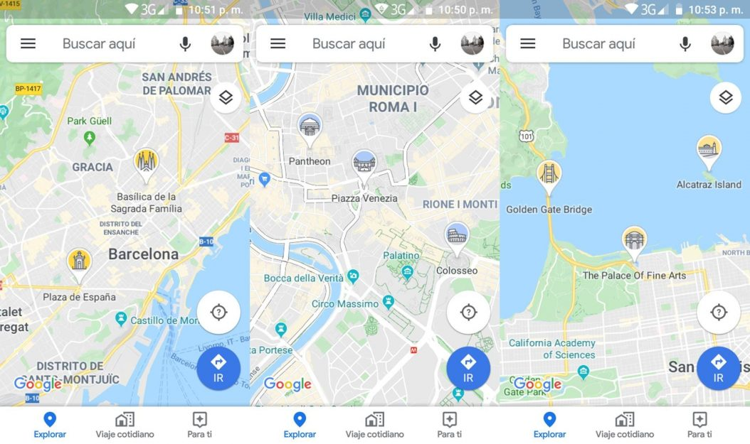 Google Maps íconos de monumentos
