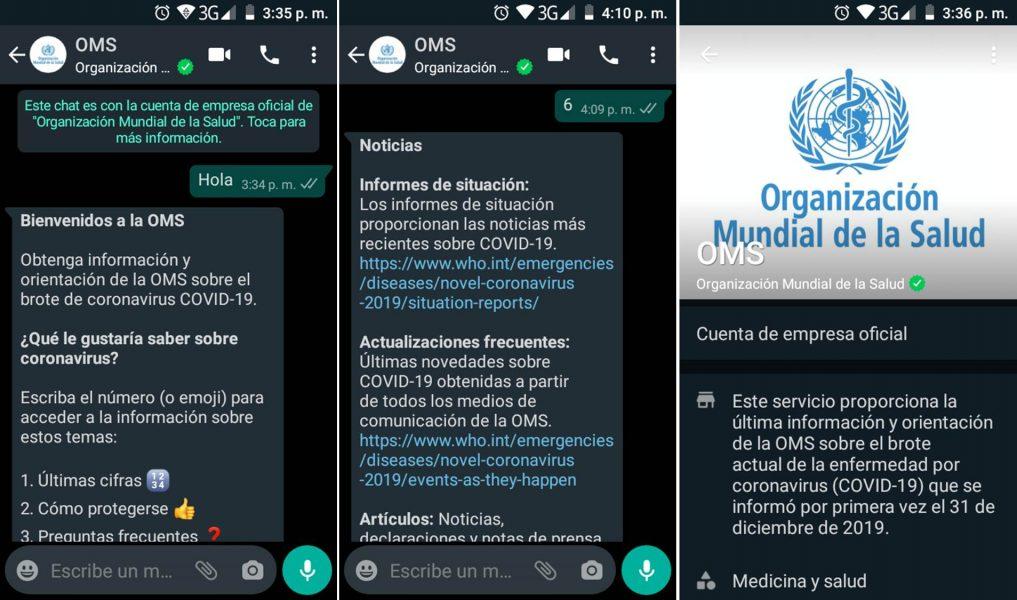 Bot OMS en WhatsApp coronavirus