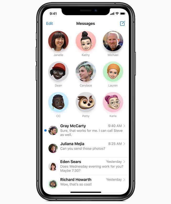Características de iOS 14, cambios en Mensages