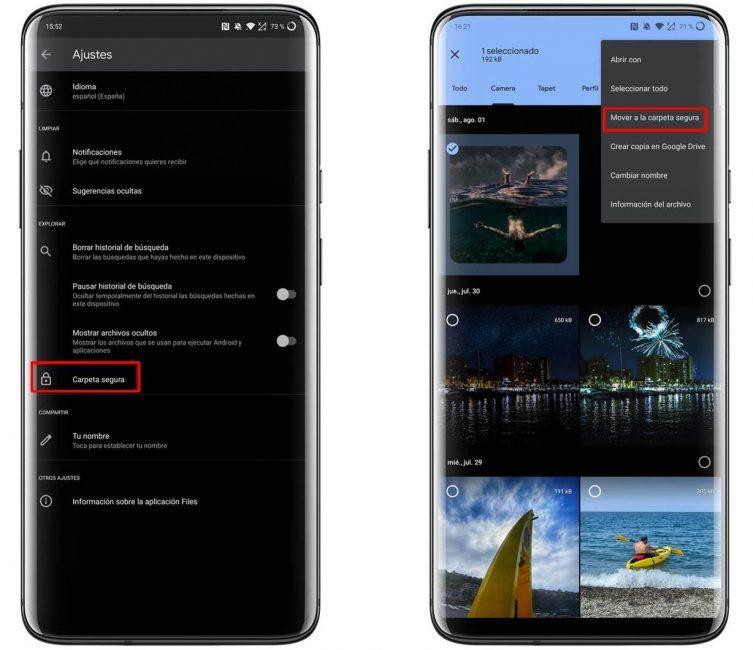 Carpeta segura en Files de Google, cómo activarla
