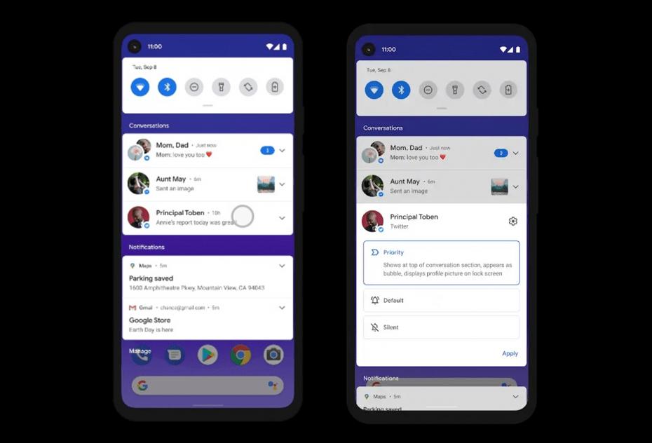 Características de Android 11 Go Edition, prioridad sección de conversaciones