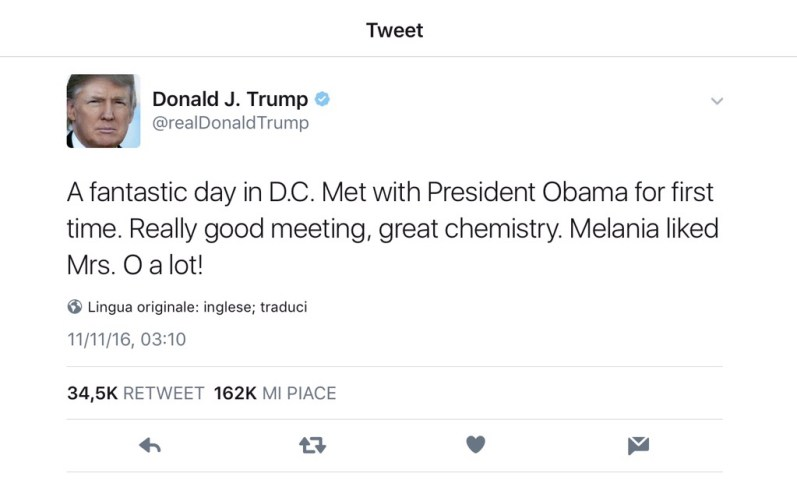 Donald Trump tweet After obama meeting Whittier house
