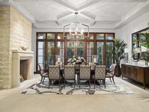 Crystal cove interior design, formal dining room design - dining table and chairs by marge carson
