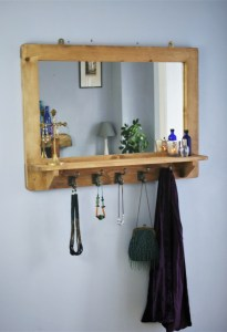 Our handmade mirror with inbuilt wooden shelf and hooks is a great alternative to a cabinet vanity unit; any size handmade to order in Somerset UK