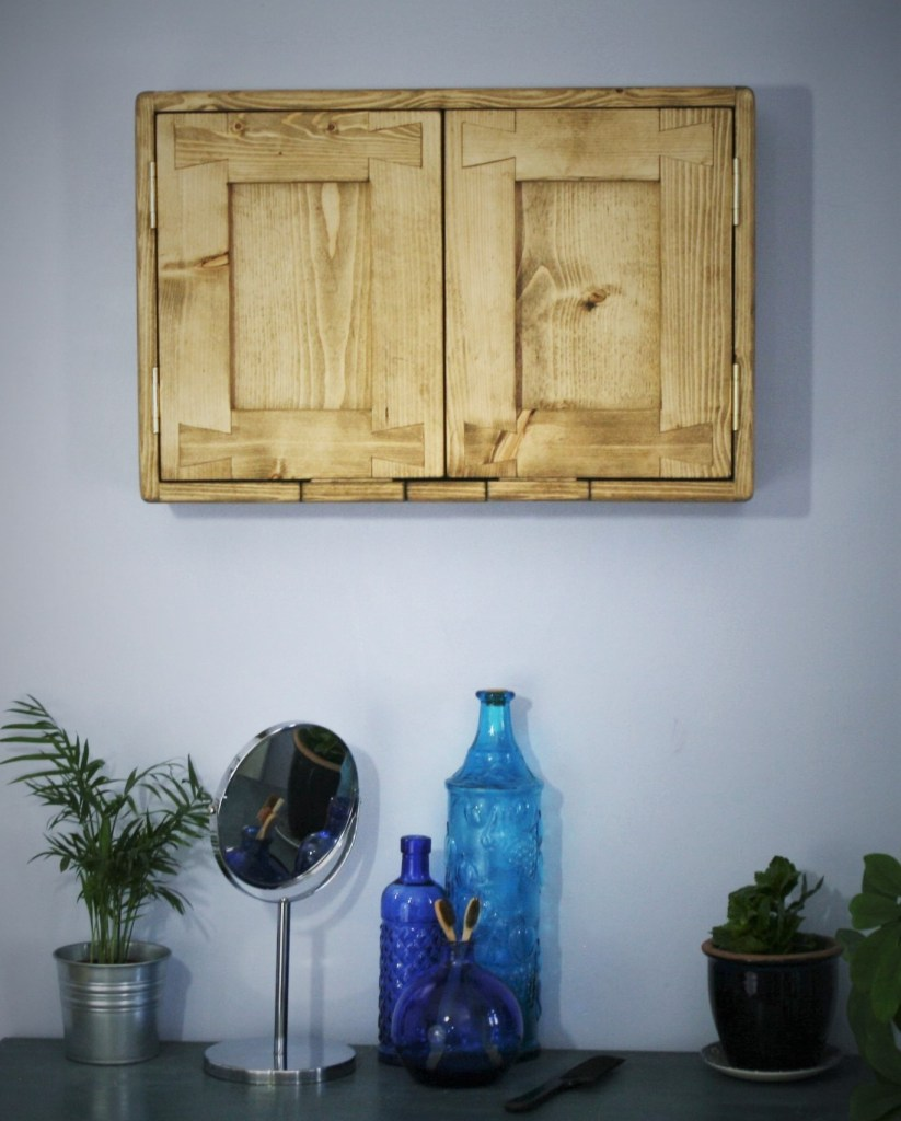 wooden door bathroom cabinet vanity unit in reclaimed wood, custom handmade to order in Somerset UK