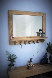 wooden mirror with shelf and 5 cast iron hooks