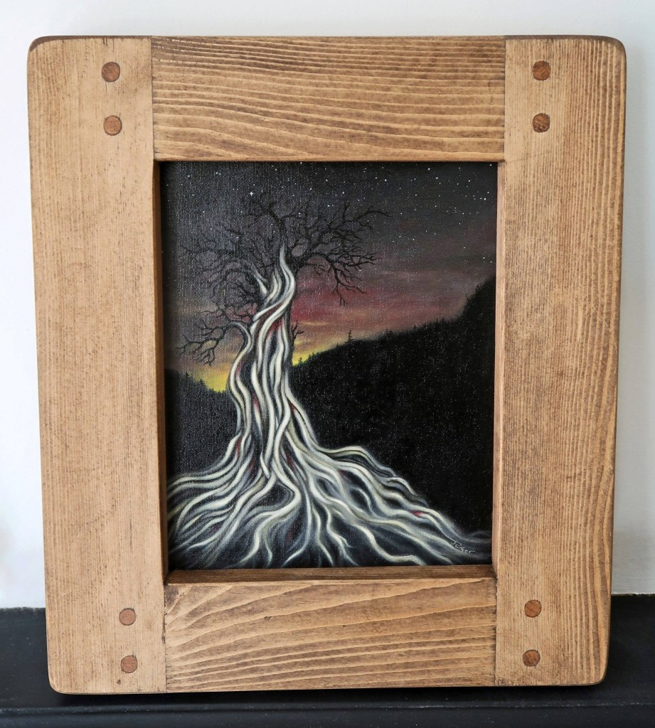 Our wooden art frame, handmade by Marc wood Joinery in Somerset UK from eco reclaimed wood has been used to add drama to an original artwork by Jess Purser