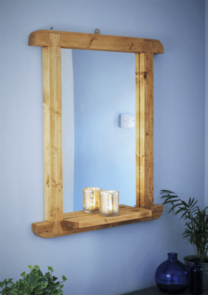 handmade in Somerset UK, mirror with shelf and reclaimed wooden frame