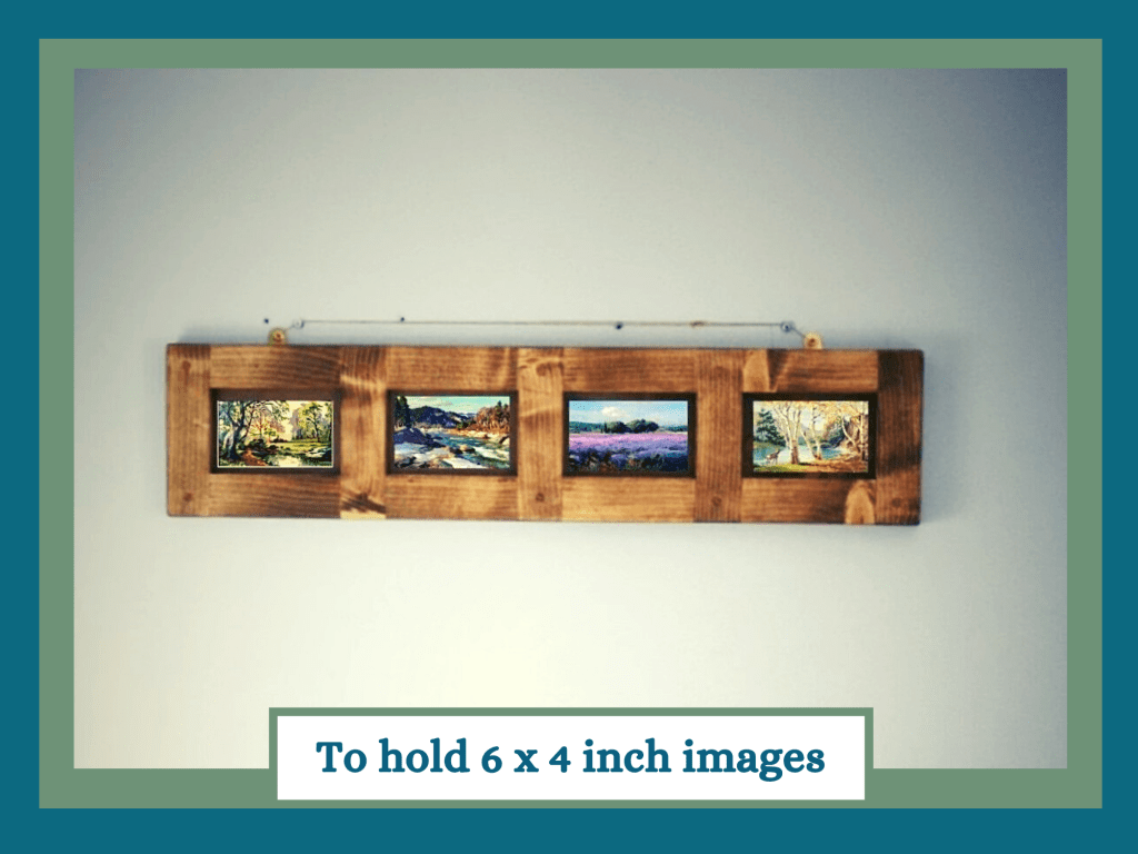 Multi aperture wooden picture frame for 6 x4 inch images handmade by Marc Wood Joinery in Somerset UK