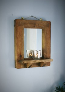 small dark wooden framed mirror with shelf handmade by Marc Wood Joinery in Somerset from eco natural reclaimed wood and sustainable timbers. Inspired by the chunky beams of our local Somerset farmhouses.