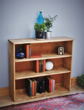 Large bookcase and bookshelves in soolid natural and reclaimed wood.