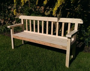 Vintage style country garden bench with curved back panel and slatted seat has been designed and handmade by Marc at Marc Wood Joinery from reclaimed wood and sustainable FSC timbers.