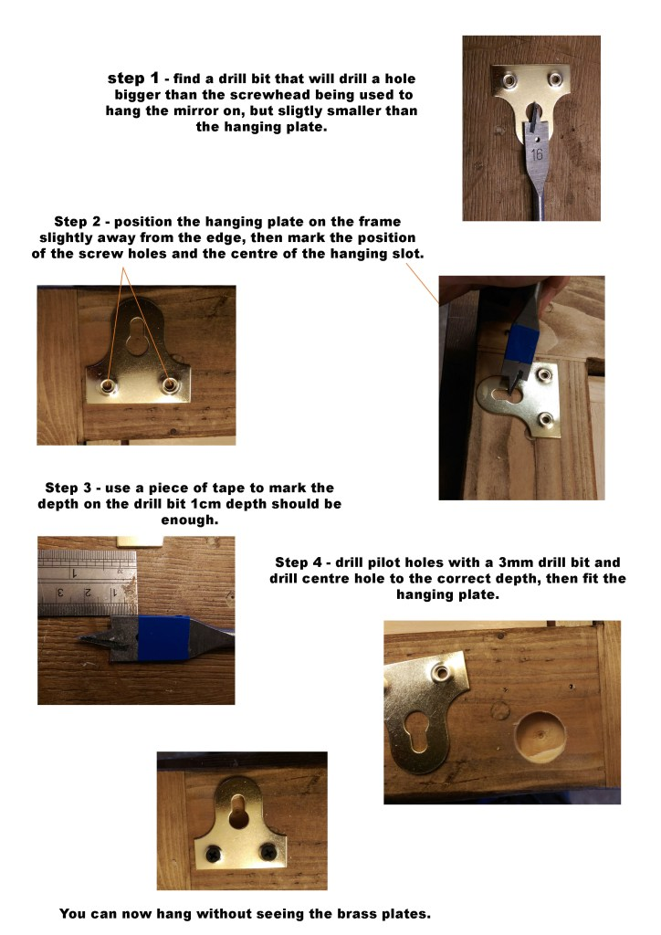 We are always happy to help you get exactly what you want from our bespoke handmade furniture service. Here is our handy step by step guide for fitting the metal hanging plates provided with our modern rustic wooden frame mirrors , if you want them to sit below your mirror frame.