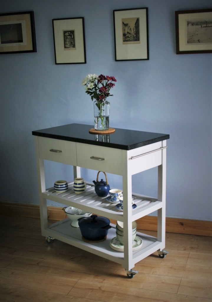 our wooden kitchen storage island with granite worktop is handcrafted to order in our rural workshop, you can choose to have more space devoted to drawers and the number or height of your shelves.
