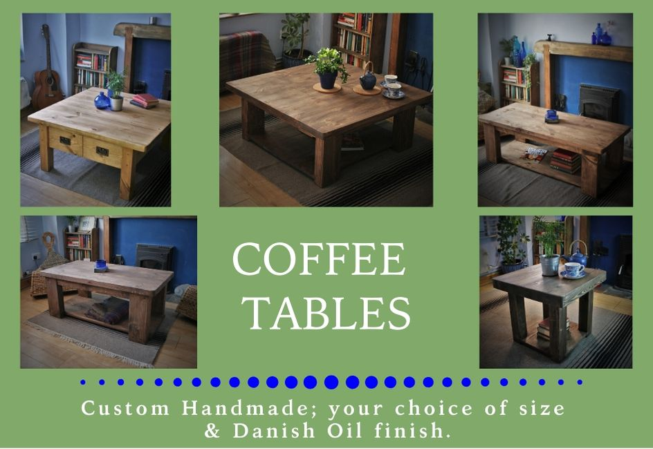 custom handmade modern rustic coffee tables from natural wood, designed and handcrafted by Marc and the team at Marc Wood Joinery in Somerset UK using traditional joinery technique. Our in house living room furniture and table designs mix country farmhouse natural timber textures with our signature decorative dovetail joint and a sleek modern shape for a unique range of high quality furniture and home décor.